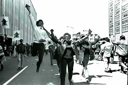 Free Huey newton, Black Panther Rally San Francisco, May 1, 1969  Leaping wi Mao Book   sheet 294 frame 42